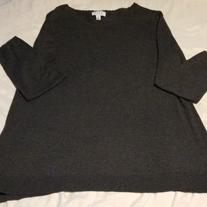 Elle long sleeve gray sweater w/lace down back.